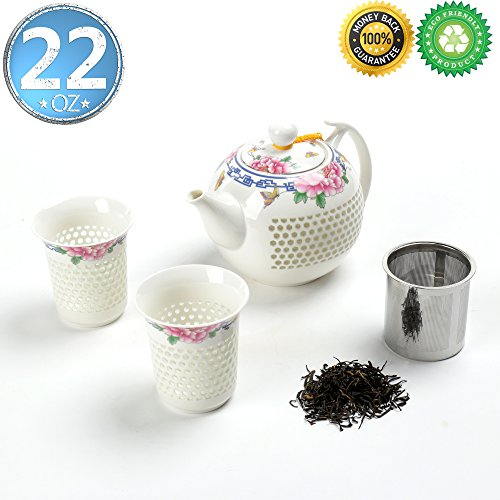 Japanse Porcelain Tea-Pot-Set For 2 with Infuser,Gift Box,TEANAGOO-Janus(Peony), Pot(22 oz) Filter Steeper Diffuser, Steeping 2 cup(5.3oz),Ceramic China Asian Japan Koren Adult Oolong Shinny White … Asian White Tea Tea