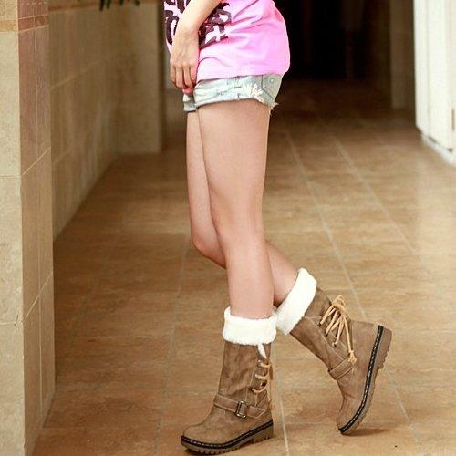 Shoes Stivali Marrone Moda Flats Snow Female Autunno Rotonda Neve Donna Punta Boots Inverno Pelliccia Minetom qSwEOAnEa