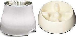 Dogit Elevated Dog Bowl and Slow Feeder Dog Food Bowl, White, Large
