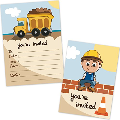 Construction Dump Truck Kids Birthday Party Invitations for Boys (20 Count with Envelopes) - Construction Party Supplies ]()