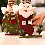 Labu Store Christmas Decoration Wooden Advent Calendar with Santa Claus Snowman Dolls Kids Merry Date Countdown Calendars