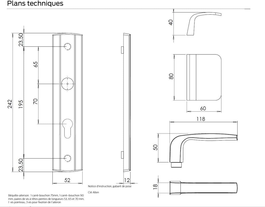 pour Cylindre Europ/éen Coloris Or Aileron pour Porte d/'Entr/ée Bricard 9900031 Ensemble de Poign/ées Blind/ées sur Plaque Essential Pali/ère B/équille