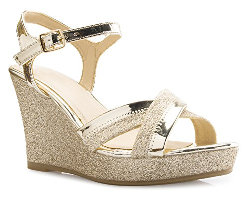 OLIVIA K Women's Sexy Strappy Platform Wedge Glitter Sandals,Gold, 6 B(M) US
