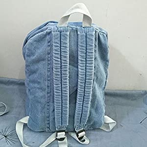 College School Backpacks Women Men Classic Vintage Denim Book Bags School Bag College Jeans Backpack