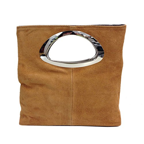 Italian Real Bag Ladies Clutch amp; Brown Evening Bag Tote Small Suede Leather Coffee gA5qw