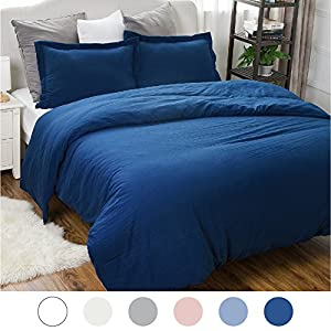 Duvet Cover Set with Zipper Closure-Wrinkled Vintage Style Navy,Full/Queen (90
