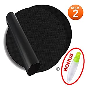 """Round BBQ Grill Mats Set of 2, Meiso 15.75"""" Non-stick Reusable Easy-clean Grilling Mat, no more Trimming for Barbecue Gas Charcoal Electric Grilling Microwave Toaster Oven Smoker With Silicone Brush"""