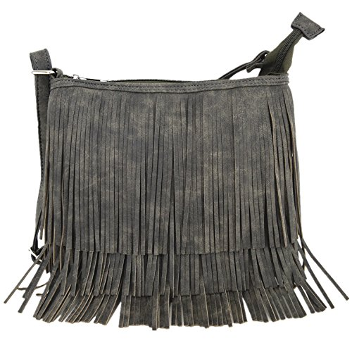 Style Fringe - Western Cowgirl Style Fringe Cross Body Handbags Concealed Carry Purse Country Women Single Shoulder Bags (Grey)