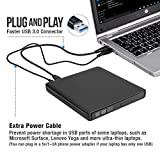 ROOFULL External DVD Drive with Power Supply Cable, Portable USB 3.0 CD DVD RW Optical Drive Writer Burner Player, Compatible for Windows 10 Laptop PC Computer Surface Pro, Black