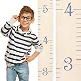 Growth Chart Art | Wooden Ruler Growth Chart for Kids [Boys and Girls] - Kids Room Décor Height Chart in 7X Fun Colors - Portable and Beautiful Measurement Wall Hanging - Naked Birch w/Gray Numerals