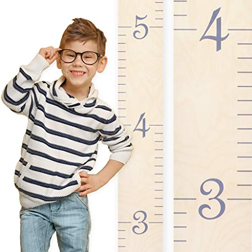 Growth Chart Art | Wooden Ruler Growth Chart for Kids [Boys and Girls] - Kids Room Décor Height Chart in 7X Fun Colors - Portable and Beautiful Measurement Wall Hanging - Naked Birch w/Gray Numerals by Growth Chart Art