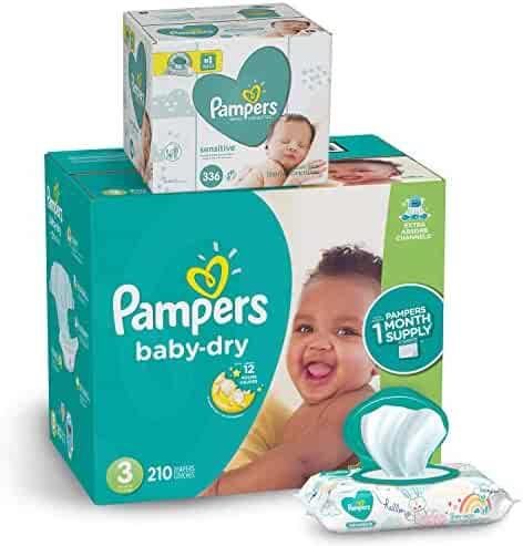 Pampers Diapers Size 3 - Baby Dry Disposable Baby Diapers, 210 Count ONE MONTH SUPPLY with Baby Wipes Sensitive 6X Pop-Top Packs, 336 Count