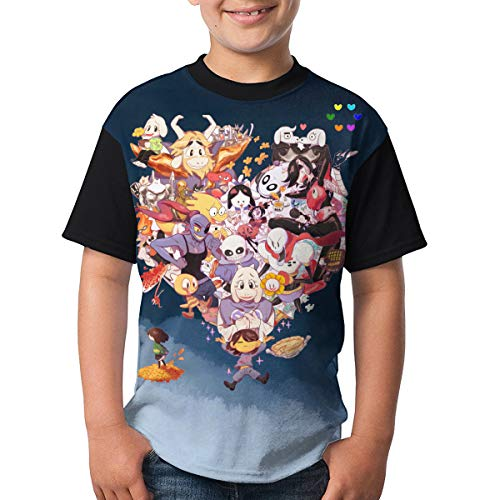 Undertale Main Characters Boys and Girls Casual Short Sleeve Print T-Shirts, Youth Fashion Tops
