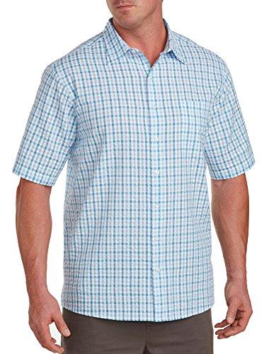 Harbor Bay Big & Tall Large Plaid Seersucker Sport Shirt Blue (Seersucker Big Shirt)