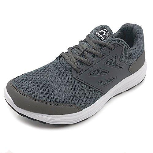 Amoji Women Men Running Athletic Shoes Sneaker Walking Trainers Tennis Sport Gym Workout Shoes Kids Ladies Adult Female Male Girl Boy Gray 5.5US Women/4.5US Men