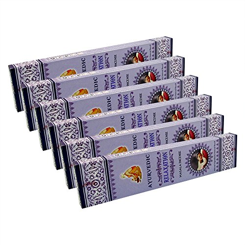 Ayurvedic Relaxation Premium Masala Incense Sticks Pack of 6 Boxes 15gms Each Fine Quality Incense Sticks Supreme Quality Incense Sticks for Emotional Balance, Steadiness & Stress Relief
