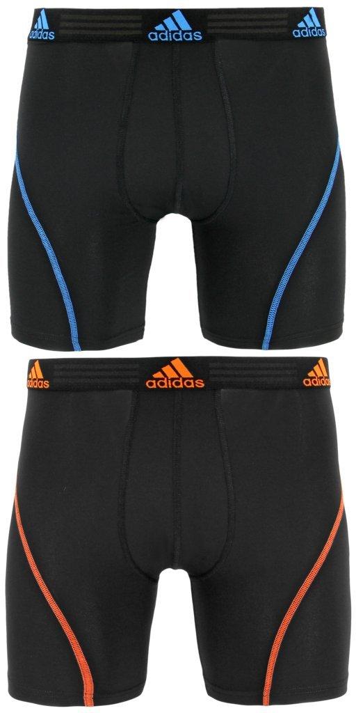 adidas Men's Sport Performance Climalite Boxer Briefs Underwear (2-Pack), black/bright blue black/orange, Medium