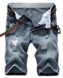 IWOLLENCE Men's Fashion Ripped Distressed Straight Fit Denim Shorts with Hole Blue-US 34