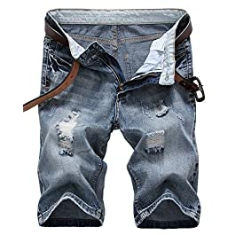 IWOLLENCE Men's Fashion Ripped Distressed Straight Fit Denim Shorts with Hole