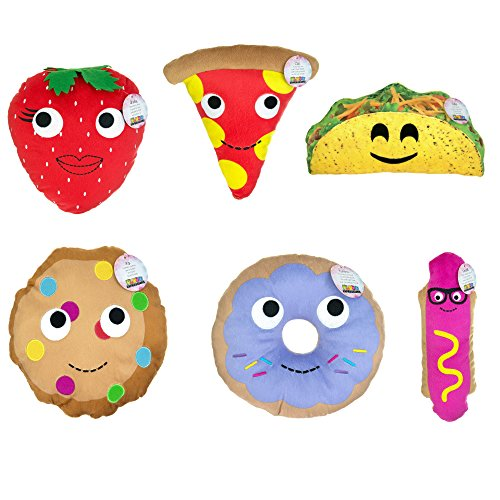 Emoji Fun Food with Smiley Face Expression Emoticons Round Pillow Plush Cushion - 6 Assorted Designs (Plush Pillow Pizza)