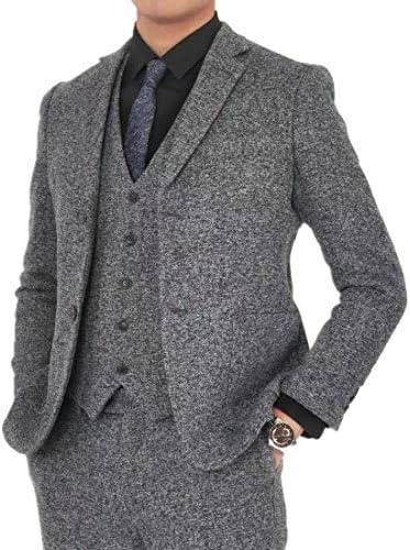 [Wenergy]ツイード スーツ メンズ スーツ スリーピーススーツ スリムスーツ ビジネス カジュアル 3点セットアップ(ジャケット ベスト 洗えるスラックス)入学式 卒業式成人式春秋冬