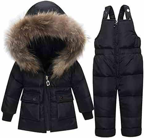 51b458cf7 ZPW Baby Girls Boys Warm Hooded Zipper Big Fur Trim Snowsuit Winter Puffer  Down Jacket with
