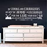 Diggoo Be Strong And Courageous Joshua 1:9 Bible Verse Quotes Decal Explorer Nursery Decor Arrow Mountains Sticker (White,14'' h x 40'' w)