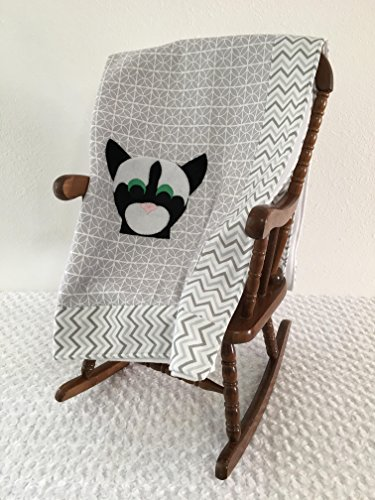 Small Gray and White Cat Applique Blanket