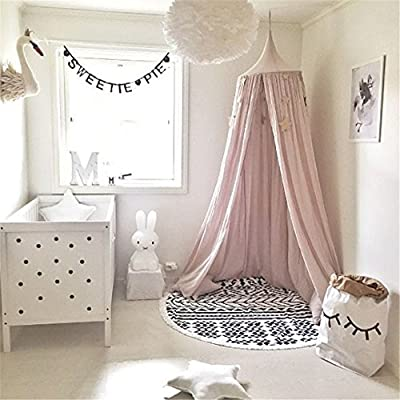Round Dome Princess Bed Canopy Mosquito Net Child Play Tent Bed Curtains for Baby Crib Kids Room Games House Castle Decoration Height 240cm / 94.5 in