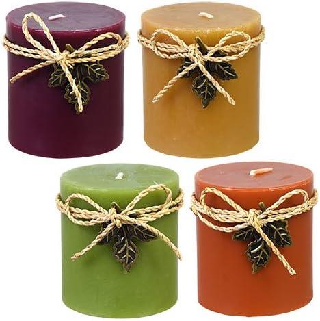Luminessence Set of 4 Thanksgiving Autumn Scented Pillar Candles Maple Pumpkin Creme