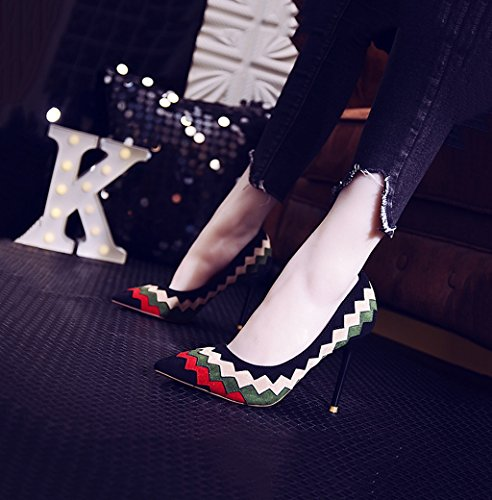 Shoes Heels Female Shoes 9cm 36 Pointed Color High Size Fashion Black Suede Wedding Elegant Mouth Black Shallow Toe Dream Sexy 0xwZgqP5