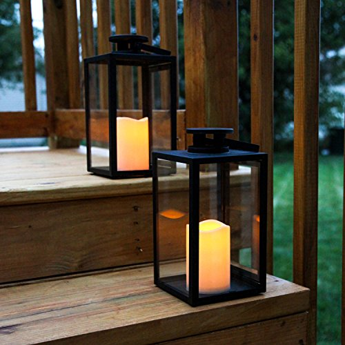 Outdoor Flameless Black Candle Lanterns, Glass Paneled, 11″ Height, Warm White LEDs, Remote & Batteries Included – Set of 2