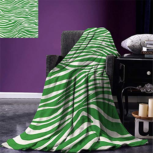 Dog Wild African Safari (SINOVAL Green Digital Fashion Blanket Zebra Skin Pattern in Vibrant Green Color Wildlife African Safari Animal Print Summer Quilt Comforter Fern Green White)