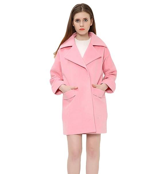 WanYang Abrigo De Mujer Rosa De Moda Otoño E Invierno Abrigos De Solapa De Manga Larga De Color Sólido: Amazon.es: Ropa y accesorios