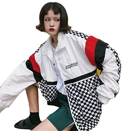Stile College Maniche Ragazza Bianca Donna Chic Sportivo Jacket Outwear Giovane Casual Leggero Lunghe Cerniera Giubbino Moda Relaxed Coat Estivi Con Harajuku Stampate Primaverile anTxAB0n