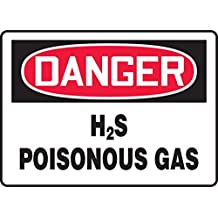 """Accuform MCHL177VA Aluminum Safety Sign, Legend """"DANGER H2S POISONOUS GAS"""", 7"""" Length x 10"""" Width, Red/Black on White"""