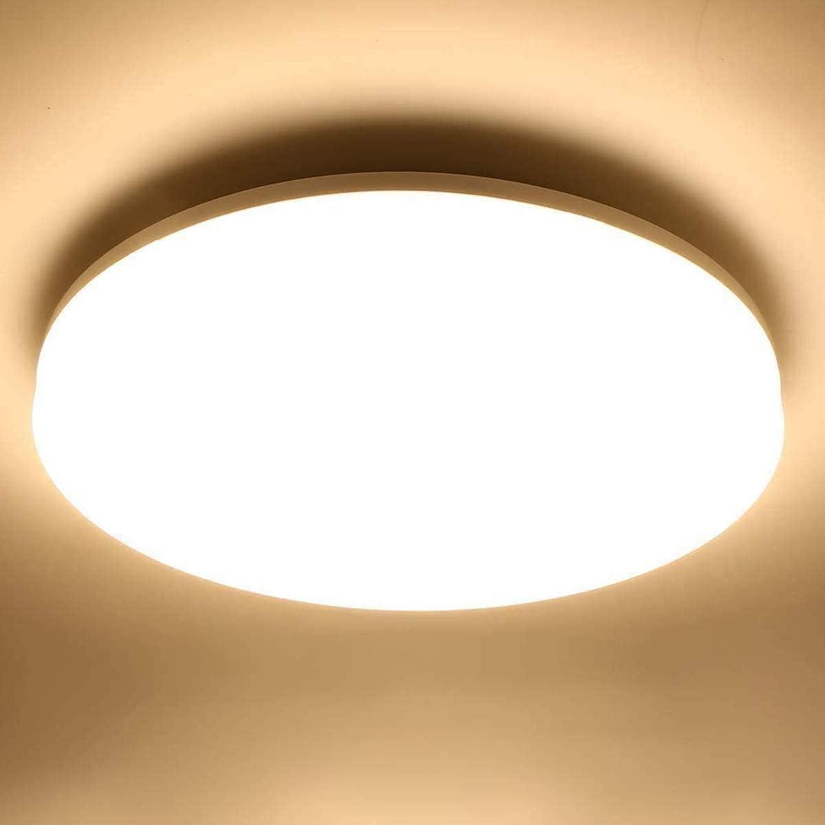 LE 12W Deckenlampe, IP12 Wasserfest Badlampe, 12K LED Deckenleuchte,  1200lm Lampen ideal für Badezimmer Balkon Flur Küche Wohnzimmer, Warmweiß  ...