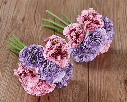 Nument(TM) Silk Artificial Carnation Flowers Real Touch Flowers 2 bouquets for Wedding Bridal Bridesmaid Home Decoration Mother's day gift(Pink+Purple)