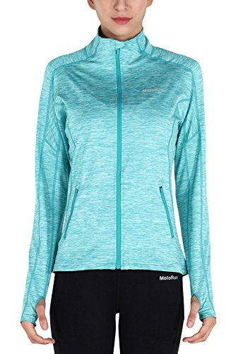 MotoRun Stretchy Women's Running Sports Jackets Full Zip Activewear Coat with Thumb Holes Blue S (Fit Full Jacket Zip)