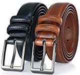 Gallery Seven Mens belt - Genuine Leather Dress Belt - Classic Casual Belt in gift box - 2 Pack - Burnt Umber & Black - Size 38 (Waist: 36)