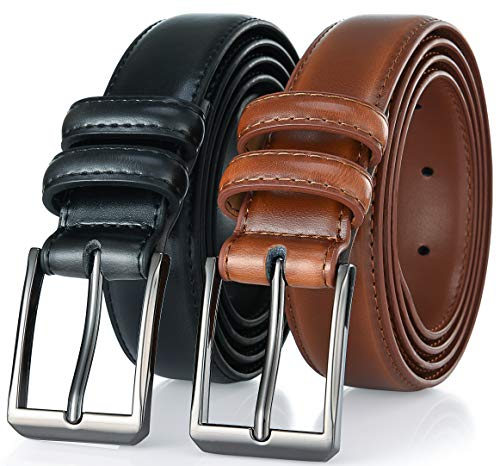 Gallery Seven Mens belt - Genuine Leather Dress Belt - Classic Casual Belt in gift box - 2 Pack - Burnt Umber & Black - Size 50 (Waist: 48)