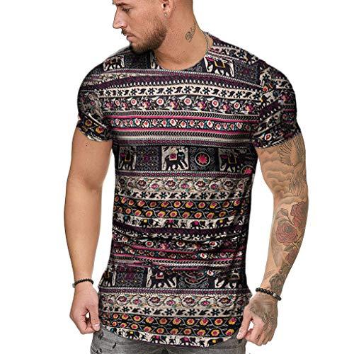 Farmerl Men's African Printed Short Sleeve Fashion Dashiki Cotton Hip-hop Shirt