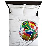 CafePress - 3D Rendering Of A Soccer Ball In A Net - Queen Duvet Cover, Printed Comforter Cover, Unique Bedding, Microfiber