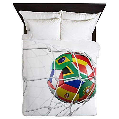 CafePress - 3D Rendering Of A Soccer Ball In A Net - Queen Duvet Cover, Printed Comforter Cover, Unique Bedding, Microfiber by CafePress