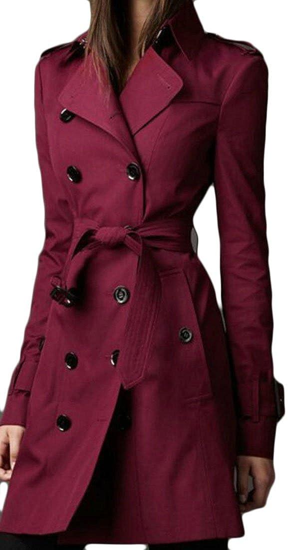 Zantt Womens Fashion Lapel Double Breasted Belt Trench Coat Jackets
