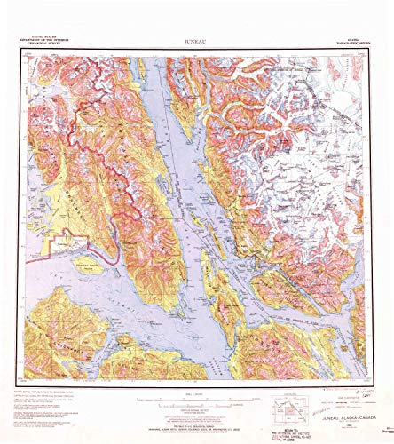 YellowMaps Juneau AK topo map, 1:250000 Scale, 1 X 2 Degree, Historical, 1962, Updated 1972, 24.2 x 21.5 in - Polypropylene -