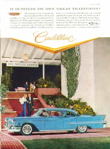 (It outsteps its own great traditions! Cadillac 4-door hardtop ad 1958)