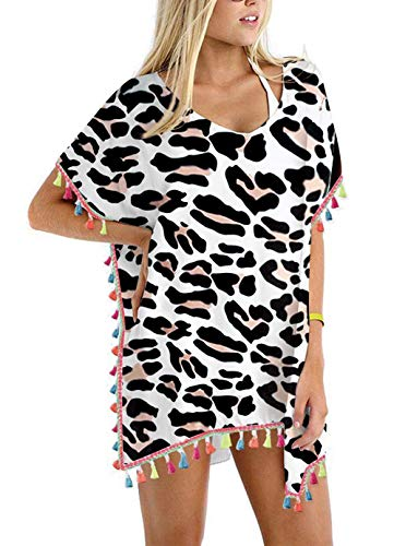 Rainbow Leopard Print - Women's Zebra Leopard Print Chiffon Rainbow Tassel Beach Swimwear Cover Up Swimsuit Beach Dress White Pom Pom Trim Kaftan Bikini Swimwear Cover-Ups