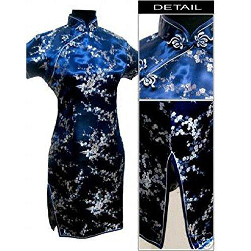 Traditional Chinese Dress Women's Satin Qipao Mini Cheongsam Flower,Small,NavyBlue