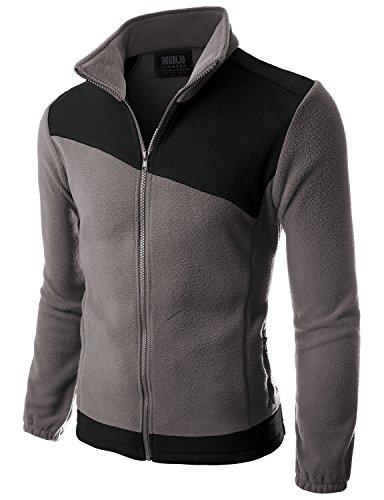 Doublju Mens Two asymmeteric Basketball Comfort GRAYBLACK Fleece Jacket,L